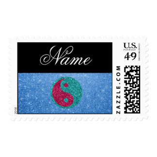 Personalized name ying yang blue glitter stamps