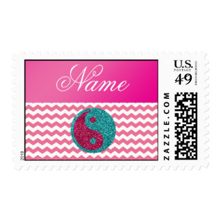 Personalized name ying yang pink chevrons postage