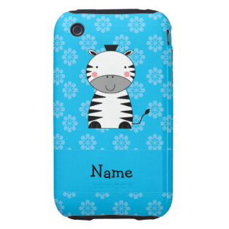 Personalized name zebra blue flowers iPhone 3 tough covers