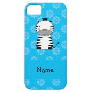 Personalized name zebra blue flowers iPhone 5/5S cover