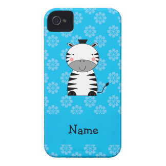 Personalized name zebra blue flowers iPhone 4 Case-Mate case