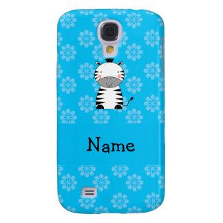 Personalized name zebra blue flowers HTC vivid cases