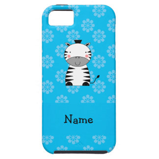 Personalized name zebra blue flowers iPhone 5/5S case