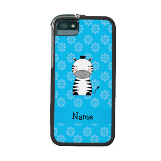 Personalized name zebra blue flowers iPhone 5/5S covers