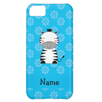 Personalized name zebra blue flowers iPhone 5C case