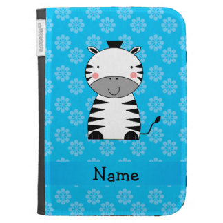 Personalized name zebra blue flowers kindle 3 covers