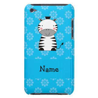 Personalized name zebra blue flowers iPod Case-Mate cases
