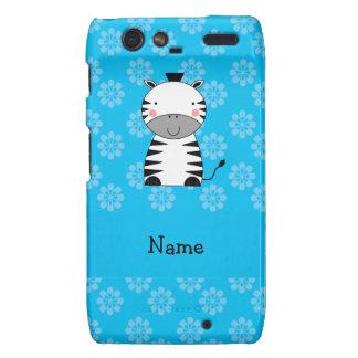 Personalized name zebra blue flowers droid RAZR cover