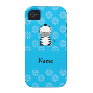Personalized name zebra blue flowers iPhone 4 cases
