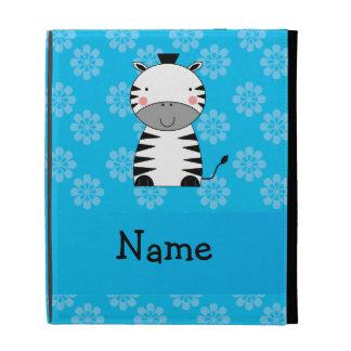 Personalized name zebra blue flowers iPad folio cover