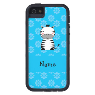 Personalized name zebra blue flowers iPhone 5 covers