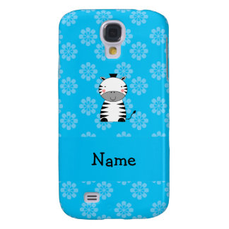 Personalized name zebra blue flowers samsung galaxy s4 cover