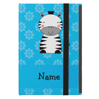 Personalized name zebra blue flowers covers for iPad mini