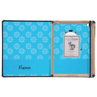 Personalized name zebra blue flowers iPad cover