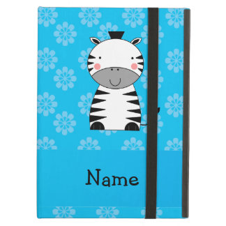 Personalized name zebra blue flowers iPad covers