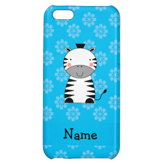 Personalized name zebra blue flowers iPhone 5C cover