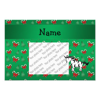 Personalized name zebra green candy canes bows photo print