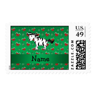 Personalized name zebra green candy canes bows stamp