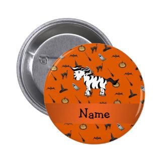 Personalized name zebra halloween pattern 2 inch round button