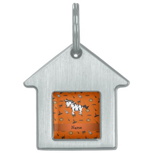 Personalized name zebra halloween pattern pet tags