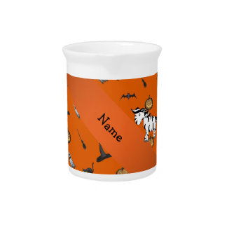 Personalized name zebra halloween pattern beverage pitchers
