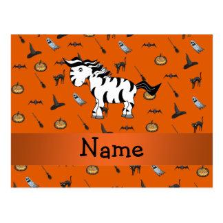 Personalized name zebra halloween pattern postcard