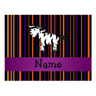 Personalized name zebra halloween stripes postcard