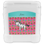 Personalized name zebra pink cupcakes roller cooler