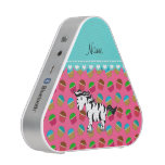 Personalized name zebra pink cupcakes bluetooth speaker
