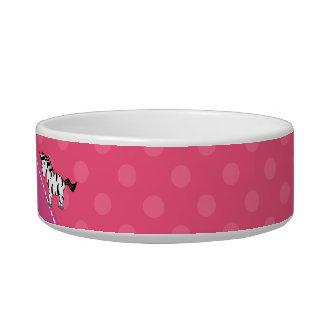 Personalized name zebra pink polka dots cat water bowl