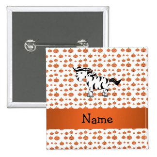 Personalized name zebra pumpkins pattern 2 inch square button