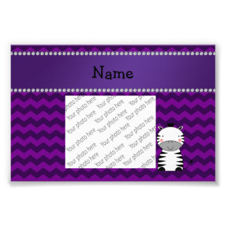 Personalized name zebra purple chevrons art photo