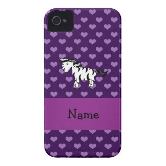 Personalized name zebra purple hearts iPhone 4 Case-Mate case