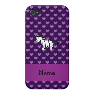 Personalized name zebra purple hearts iPhone 4 case