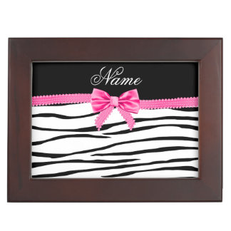 Personalized name zebra striped pink bow memory box