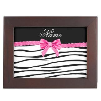 Personalized name zebra striped pink bow memory box