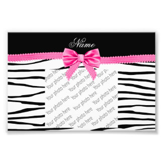 Personalized name zebra striped pink bow photo print
