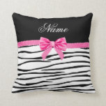 Personalized name zebra striped pink bow pillow