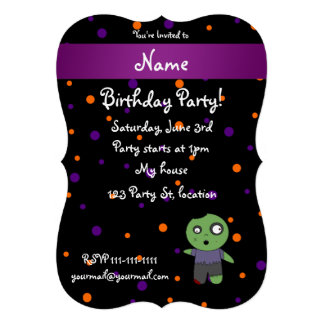 Personalized name zombie halloween polka dots personalized invites