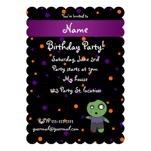 Personalized name zombie halloween polka dots custom announcement