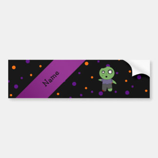 Personalized name zombie halloween polka dots patt bumper sticker