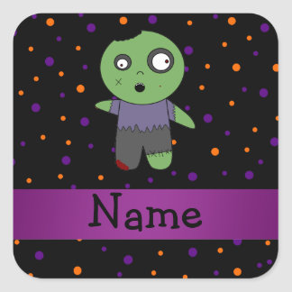 Personalized name zombie halloween polka dots patt square sticker