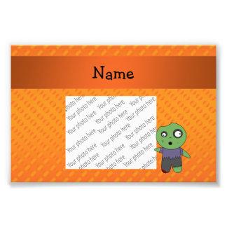 Personalized name zombie orange polka dots pattern photo print