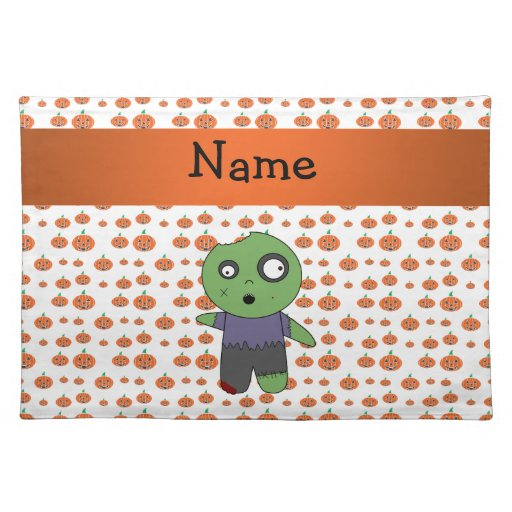 Personalized name zombie pumpkins pattern cloth placemat