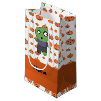Personalized name zombie pumpkins pattern small gift bag