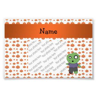 Personalized name zombie pumpkins pattern photo print