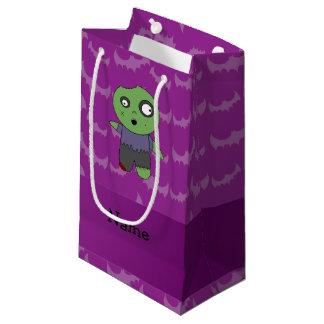 Personalized name zombie purple bats pattern small gift bag