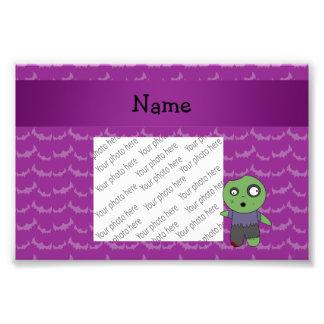 Personalized name zombie purple bats pattern photo print
