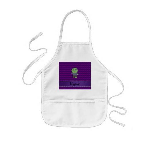 Personalized name zombie purple chevrons apron