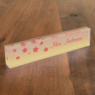 Personalized Nameplate with Red Stars
